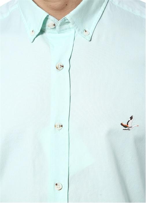 Mint Yıkamalı Slim Fit Oxford Gömlek