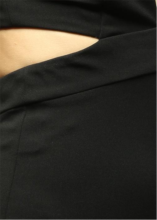 Derin V Siyah Midi Kokteyl Elbise