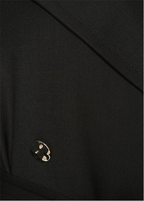 Siyah Kruvaze Kuşaklı Pardösü