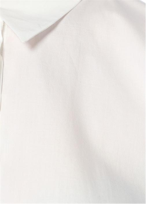 Beyaz Kilda Boncuk Biye Gömlek