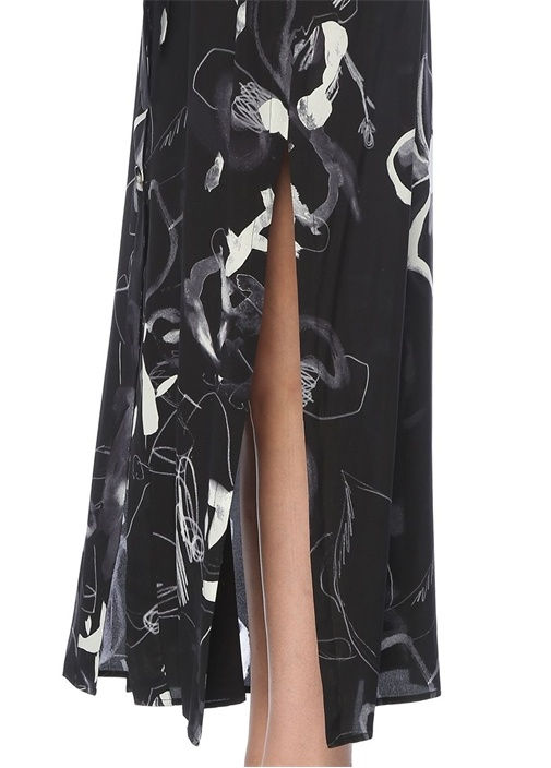 Siyah Gül Desenli İpek Maksi Elbise