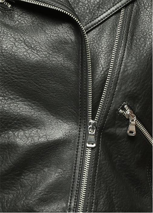 Fermuarlı Siyah Deri Ceket