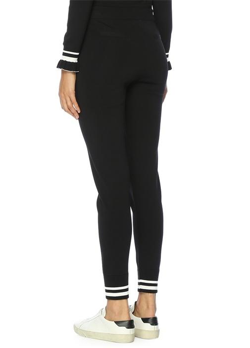 Yüksek Bel Paçaları Ribanalı Siyah Triko Pantolon