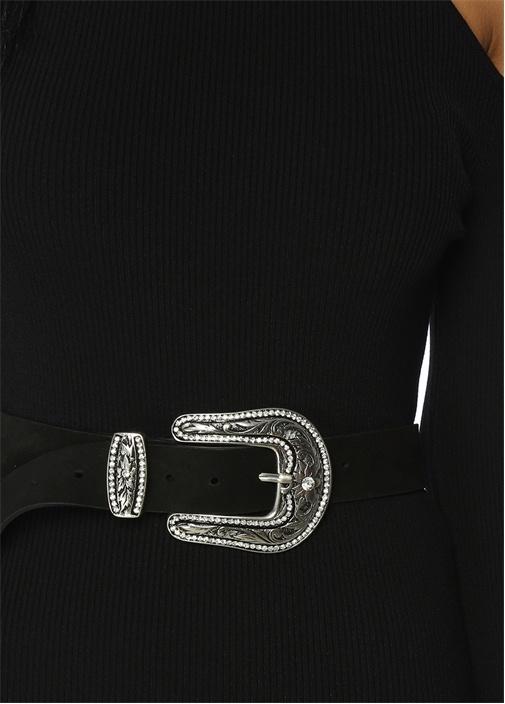 Midi Boy Açık Omuzlu Siyah Dar Triko Elbise