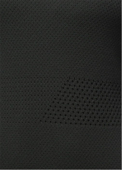Midi Boy File Detaylı Siyah Triko Elbise