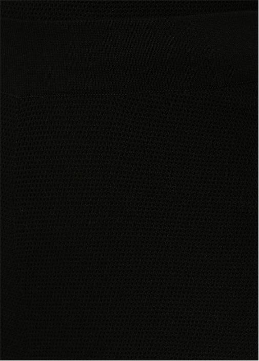 Yüksek Bel Kısa Paça Siyah Triko Pantolon