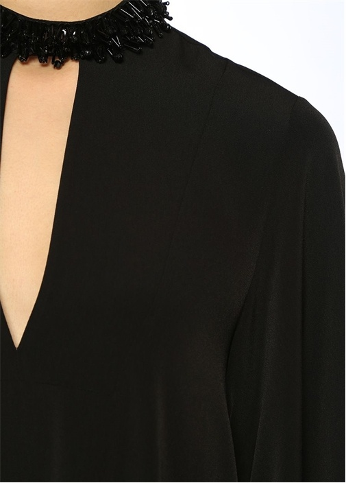 Maxi Boy Yakası İşlemeli Siyah Elbise