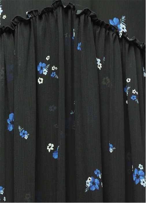 Midi Boy Çiçek Desenli Siyah Elbise