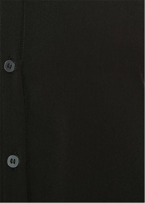 Bisiklet Yaka Düğme Kapatmalı Siyah Gömlek