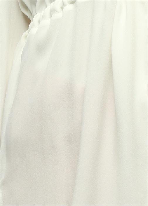 V Yaka Beli Büzgülü Beyaz İpek Tunik