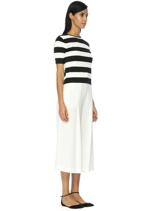 Yüksek Bel Kısa Paça Pileli Beyaz Krep Pantolon