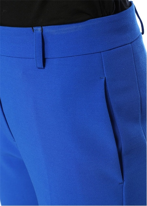 Mavi Yüksek Bel Crop Pantolon