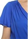 V Yaka Kruvaze Mavi İpek Bluz