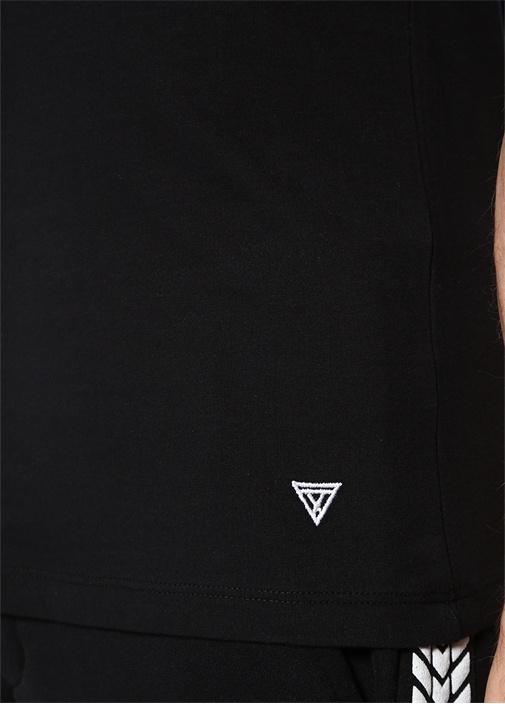 Dont Walk Siyah Yazı Nakışlı Basic T-shirt