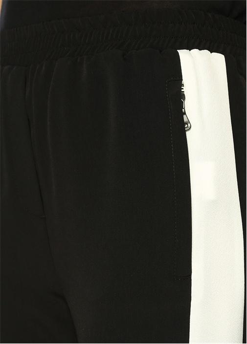 Yüksek Bel Yanları Bantlı Siyah Krep Pantolon