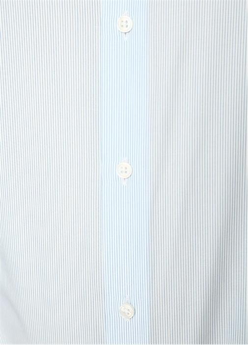 Custom Fit Yarı İtalyan Yaka Çizgili Gömlek