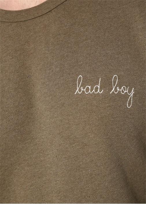 Haki Yazı Nakışlı Erkek Basic Sweatshirt