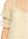 Nakışlı Bej Mini Elbise