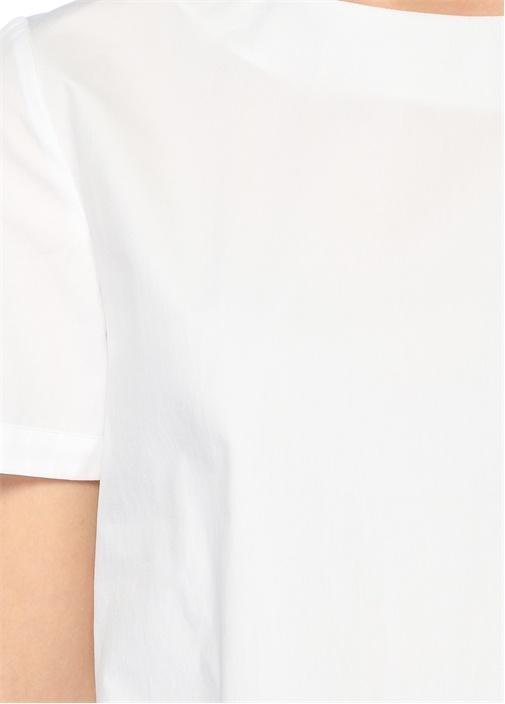 Beyaz Bisiklet Yaka Volan Detaylı Bluz