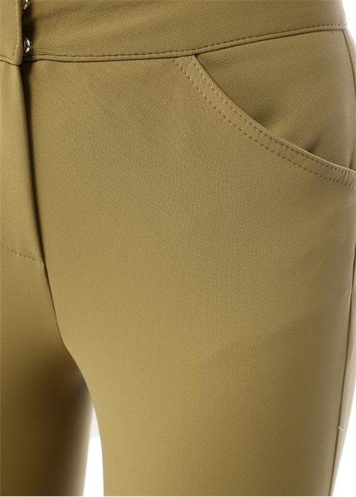 Haki Yüksek Bel Streç Binici Pantolon