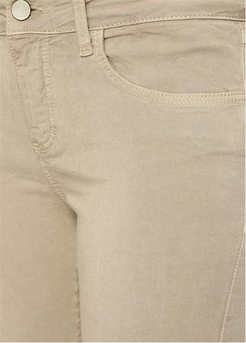 Skinny Fit Bej Yıpratma Detaylı Spor Pantolon