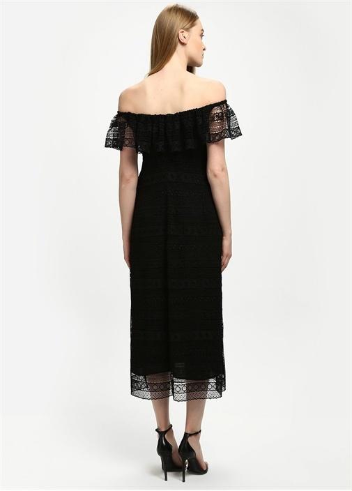 Siyah Omzu Açık Güpür Midi Elbise