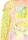 Sarı Çiçekli Omzu Açık Mini Elbise