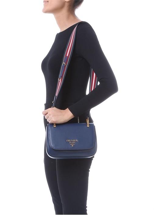 Lacivert Logolu Kadın Deri Çanta