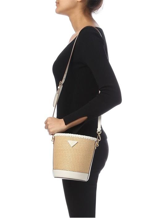 Beyaz Kadın Hasır Çanta