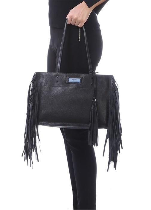 Siyah Püskül Detaylı Kadın Deri Alışveriş Çantası