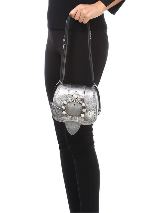 Mandras Silver Taş Detaylı Kadın Deri Çanta