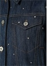 Denim Taş İşlemeli Düğmeli Ceket