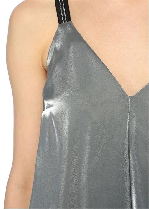 Silver V Yaka Zincirli Askılı Bluz