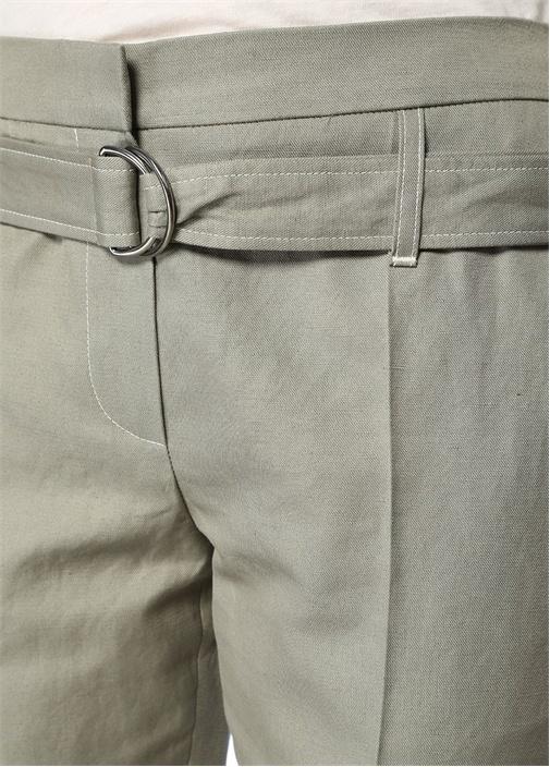 Haki Kemerli Şeritli Crop Keten Pantolon