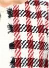 Kırmızı Beyaz Kazayağı Desenli Tweed Ceket