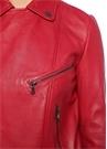 Kırmızı İngiliz Yaka Deri Ceket