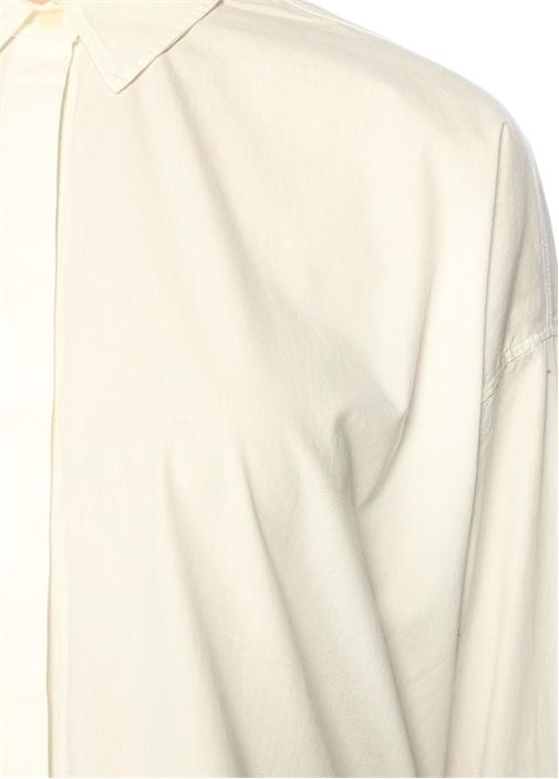 Sada Dik Yaka Beyaz Bluz