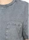 80s Gri Cepli Yıkamalı T-shirt