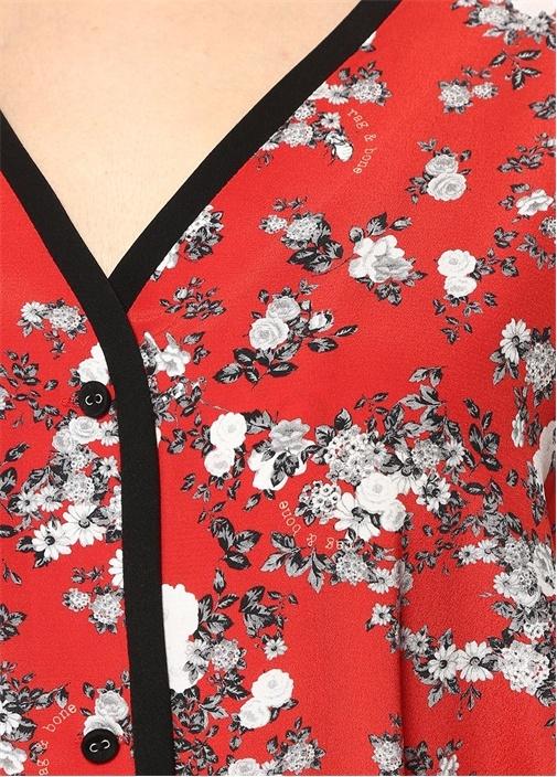 Zac Kırmızı Çiçekli Kuşaklı Mini İpek Elbise