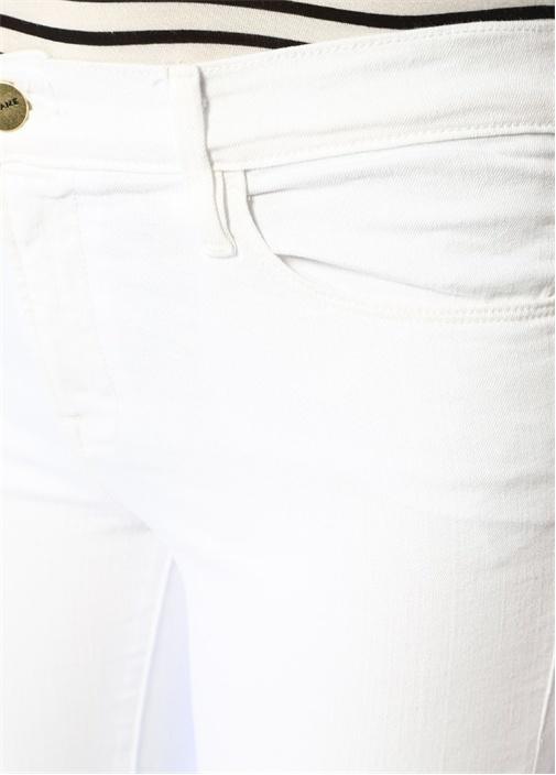 Beyaz Yüksek Bel Paçası Püsküllü Jean Pantolon