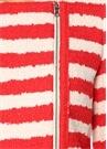 Kırmızı Beyaz Çizgili Ekru Ceket