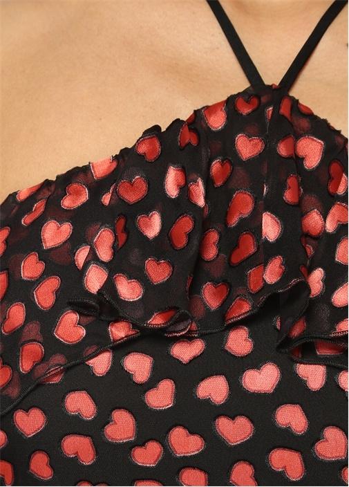 Annabeth Fırfır Detaylı Siyah Midi Elbise