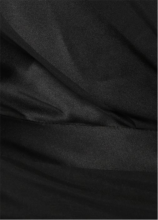 Siyah İpek V Yaka Bluz