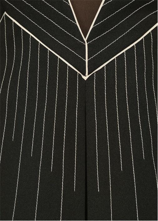 Siyah V Yaka Dikiş Detaylı Midi Elbise