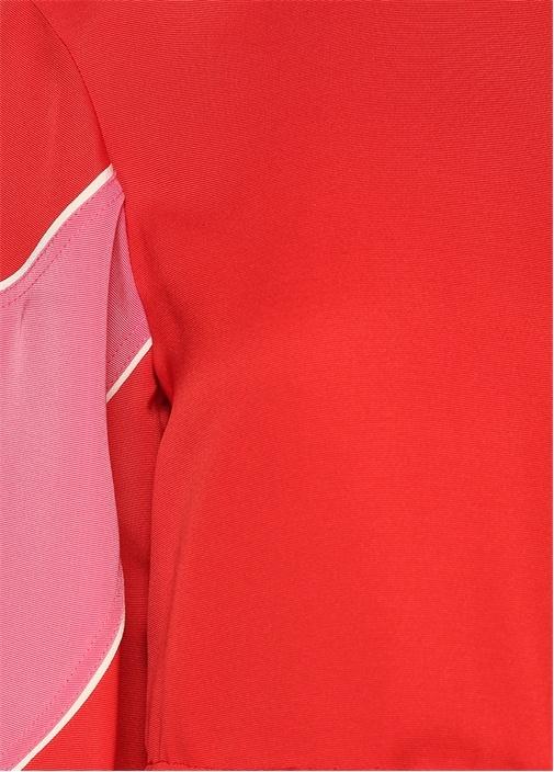 Kırmızı Renk Detaylı Midi İpek Elbise