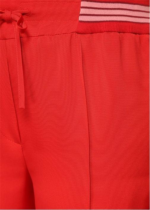Kırmızı Yüksek Bel Şeritli Bol Paça Pantolon