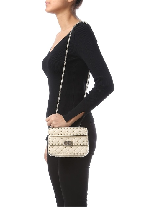 Valentino Garavani Beyaz Rockstud KadınDeri Çanta