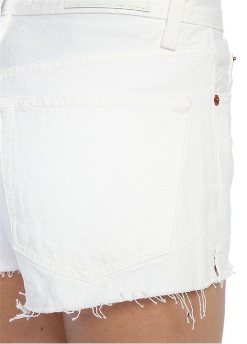 Beyaz Püsküllü Mini Jean Şort