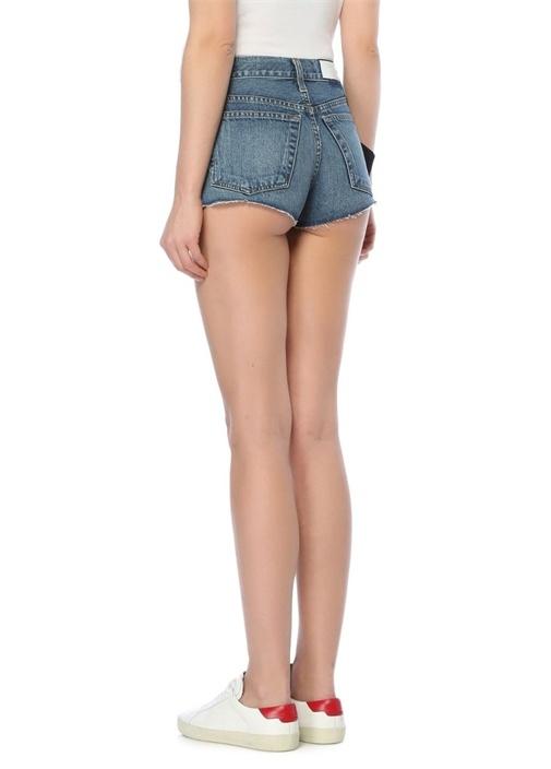 Yıpratmalı Mini Jean Şort