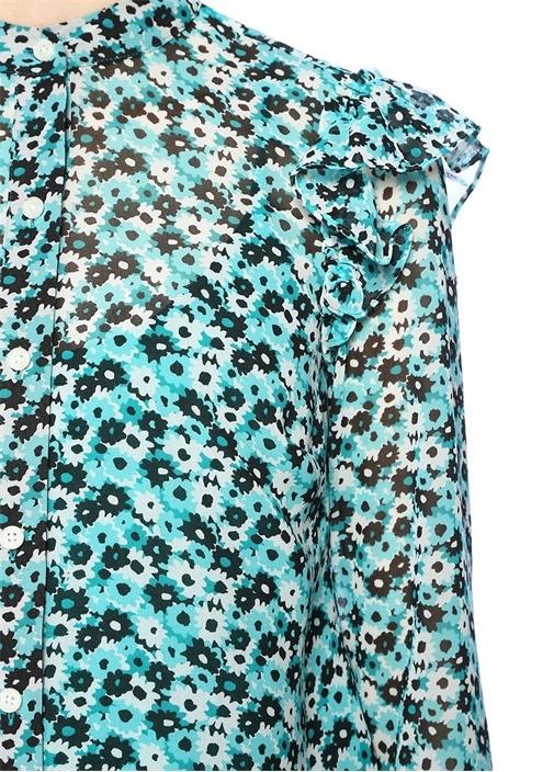 Mavi Çiçekli Fırfırlı Mao Yaka Bluz